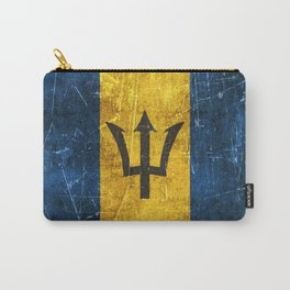 Vintage Aged and Scratched Barbados Flag Carry-All Pouch