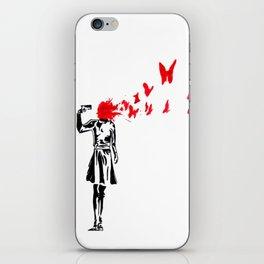 gun and butterflies banksy iPhone Skin