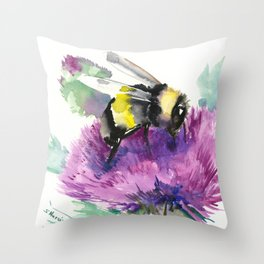 Bumblebee and Thistle Flower, Throw Pillow