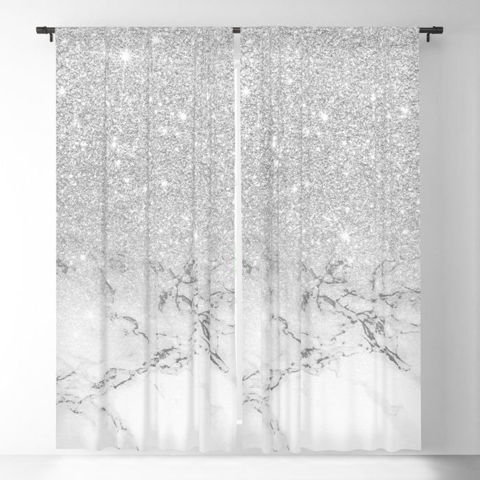 Modern Faux Grey Silver Glitter Ombre White Marble