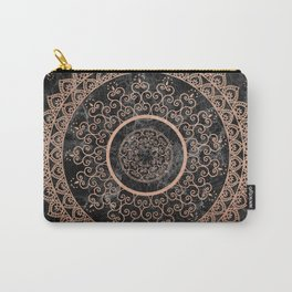 Mandala - rose gold and black marble Carry-All Pouch
