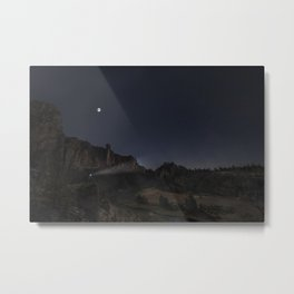 Smith Rock Night Bike Metal Print