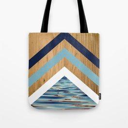 Wood Water Waves Geometric Hipster Triangels Tote Bag