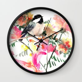Bird and Blossom Wall Clock