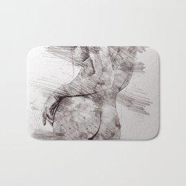 Nude woman pencil drawing Bath Mat