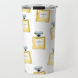 Classic Yellow Parfum Pattern Travel Mug