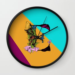 Come On Eileen, Floral Letter E Wall Clock