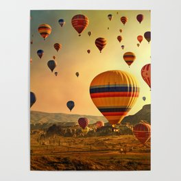 Hot Air Balloons at Sunrise in Cappadocia Poster