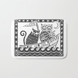 The Owl And The Pussycat (white background) Bath Mat