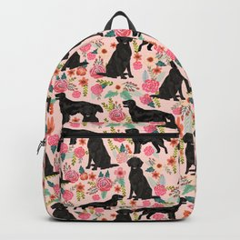 Flat Coated Retriever dog breed pet art dog floral pattern gifts for dog lover pet friendly Backpack