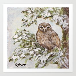 Owl In Tree Painting Art Print