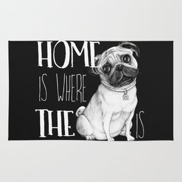 Home Is Where The Dog Is (Pug) Black Rug
