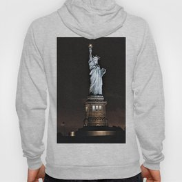 Nighttime Statue of Liberty and Flag Hoody