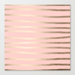 Abstract Drawn Stripes Gold Coral Light Pink Canvas Print
