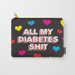 All My Diabetes Shit™ (Multi Hearts Black) Carry-All Pouch
