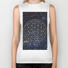 Flower of life in the space Biker Tank