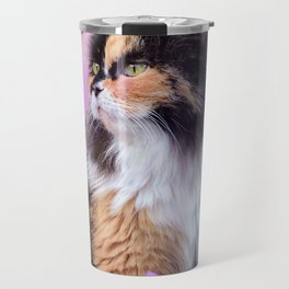 Calico Kitty In The Garden Travel Mug