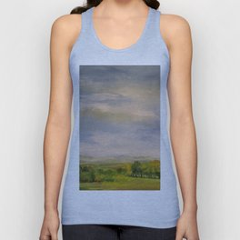 Scenic Autumn Late Afternoon in Vermont Nature Art Landscape Oil Painting Unisex Tank Top