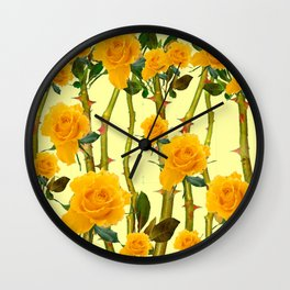 GOLDEN ROSES & THORNY CANES ON  YELLOW Wall Clock