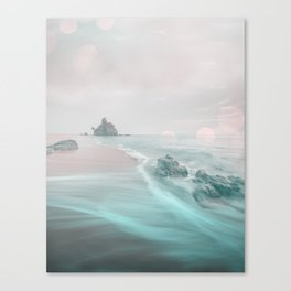 Dreamy Beach In Pink And Turquoise Canvas Print