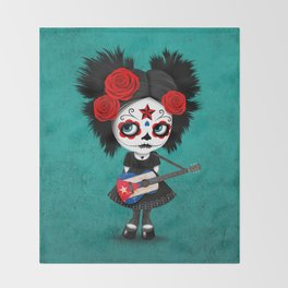 Day of the Dead Girl Playing Cuban Flag Guitar Throw Blanket