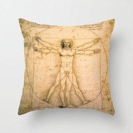 Vitruvian Man by Leonardo da Vinci Throw Pillow
