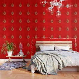 Beautiful red egg with gold cross on rich vibrant texture Wallpaper