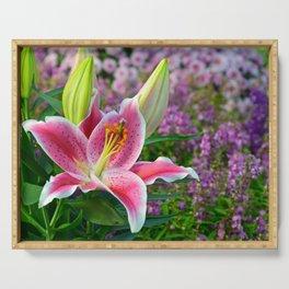Pink stargazer lily Serving Tray
