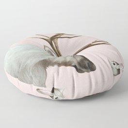 Reindeer and rabbit Floor Pillow