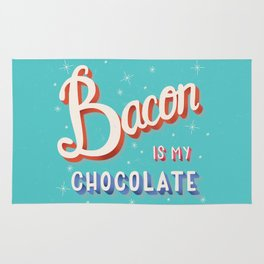 Bacon is my chocolate hand lettering typography modern poster design Rug
