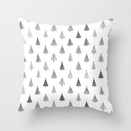 Rustic Christmas Trees Black and White Throw Pillow