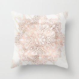 Rose Gold Mandala Marble Throw Pillow