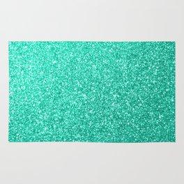 Aquamarine Aqua Blue Sparkly Glitter Rug