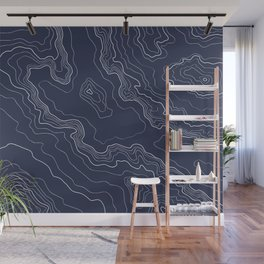 Navy topography map Wall Mural