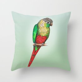 Conure with a heart on its belly Throw Pillow