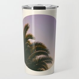 Sunset Purple Palm Tree Circle Photo Travel Mug
