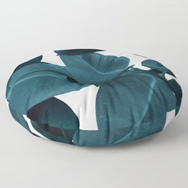 Indigo Blue Plant Leaves Floor Pillow