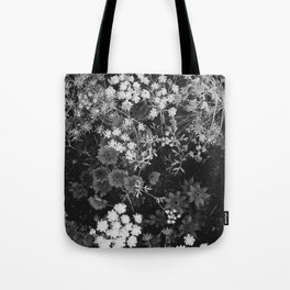The Flowers (Black and White) Tote Bag