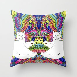 Psychedelic White Cat Throw Pillow