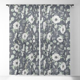 Moody Anemones Sheer Curtain