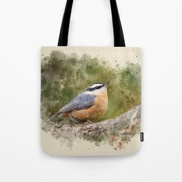 Nuthatch Watercolor Art Tote Bag