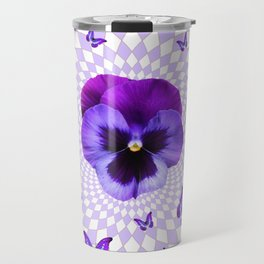PURPLE BUTTERFLIES & PANSIES GEOMETRIC WHITE PATTERN Travel Mug