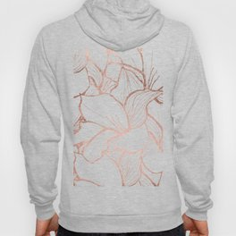Modern handdrawn abstract faux rose gold flowers pattern Hoody