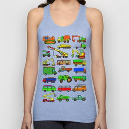 Doodle Trucks Vans and Vehicles Unisex Tank Top