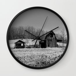 Days Gone By - Old Arkansas Barn in Black and White Wall Clock