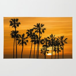 Palm Trees at Sunset by Cabrillo Beach Los Angeles California Rug