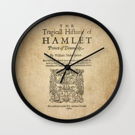 Shakespeare, Hamlet 1603 Wall Clock