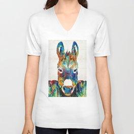 Colorful Donkey Art - Mr. Personality - By Sharon Cummings Unisex V-Neck