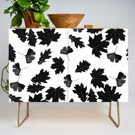 Falling Autumn Leaves in Black and White Credenza