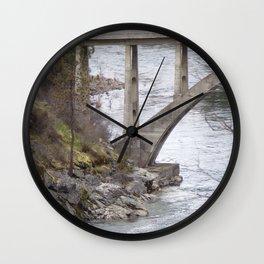 Old Bridge Over River, Vintage Concrete Bridge Wall Clock